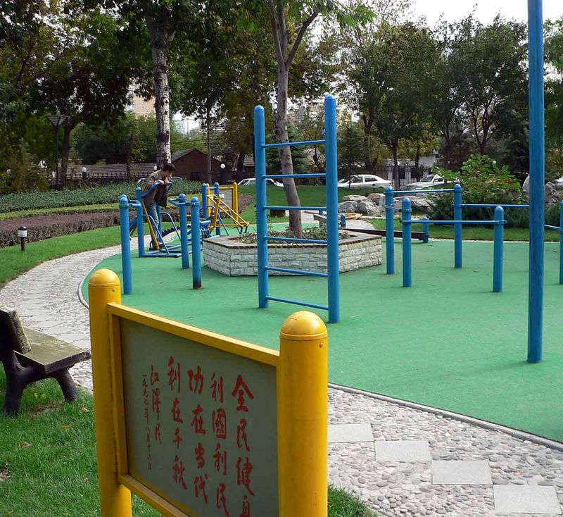 These are EVERYWHERE in China...they are public gyms! Excercise equipment and all!
