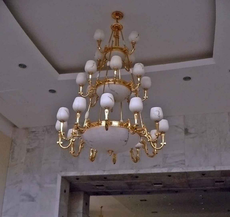 I love this chandelier...it's all marble and matches the marble in the rest of the building (Chairman Mao's Palace)