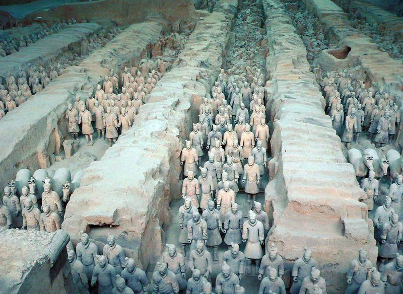 The Terra Cotta Warriors were built by an emporer who wanted to be buried with them but they were attacked and burned and subsequently buried before he could finish it. They were discovered by a farmer who was digging a well by accident!