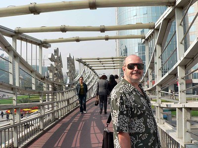 Allen on a bridge.