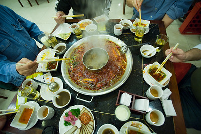 Spicy hotpot. Awesomely good, if a little bit of a tear-jerker!