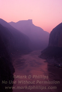 Sunrise in Qutang Gorge over the Yangtze River near Fengjie, China