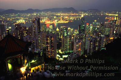 Hong Kong skyline from Victoria Mountain with Victoria harbor and Kowloon