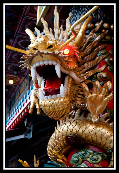 A fierce dragon protects the restaurant from ghosts...