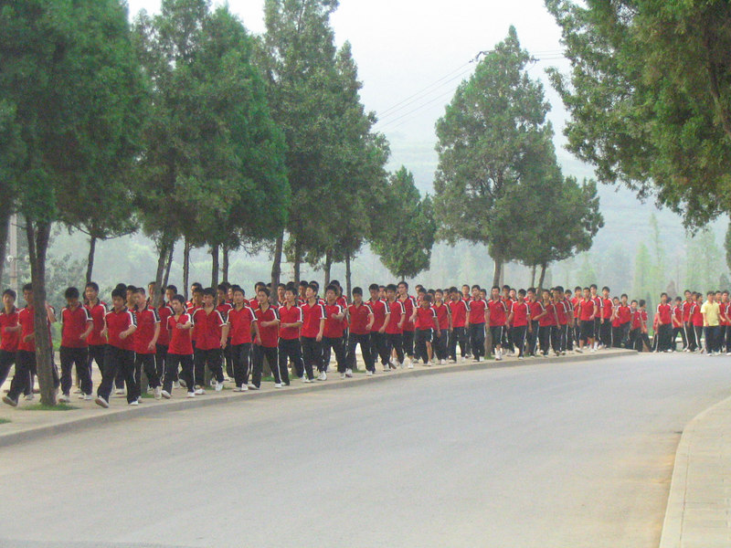 Students returning from training.
