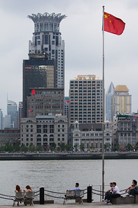 The crowned Bund Centre Building with the Shanghai Asia building (left) and Shanghai Club building (right) in the foreground