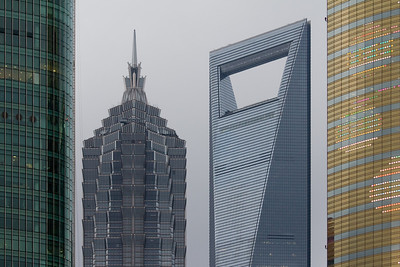 Top of the Jin Mao Tower (left) and Shanghai World Financial Center (right)