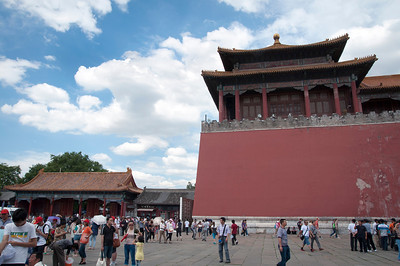 Tourists in the Forbidden City in Beijing, China.  Now known as the Palace Museum, this was the Imperial Palace during the Ming and Qing Dynasties where outside visitors were forbidden for five centuries.