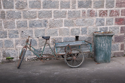 Gardener's working bicycle ready to start the new day.