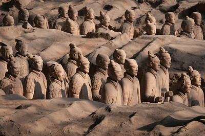 Marching Terra-Cotta Army in Pit 1 of the World Heritage Museum in Xian, China.