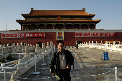 Suchit Nanda in front of the Guards at the entrance to Forbidden City from Tiananmen Square, Beijing, China. Tiananmen Square (simplified Chinese: 天安门广场; traditional Chinese: 天安門廣場; pinyin: Tiān'ānmén Guǎngchǎng) is the rather large plaza near the center of Beijing, China and named after the Tiananmen (literally, Gate of Heavenly Peace) which sits to its north, separating it from the Forbidden City. It has great cultural significance as a symbol because it was the site of several key events in Chinese history.