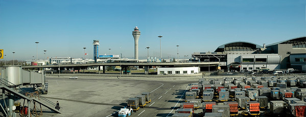 Panoramic view of Beijing International Airport, Beijing, China. The airport made a good impression. Neat, clean, efficient.