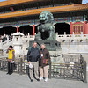One of the bronze lions guarding the second gateway in the Forbidden City.