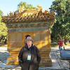 Susan in front of a monument to burn money in honor of the Yongle emperor.
