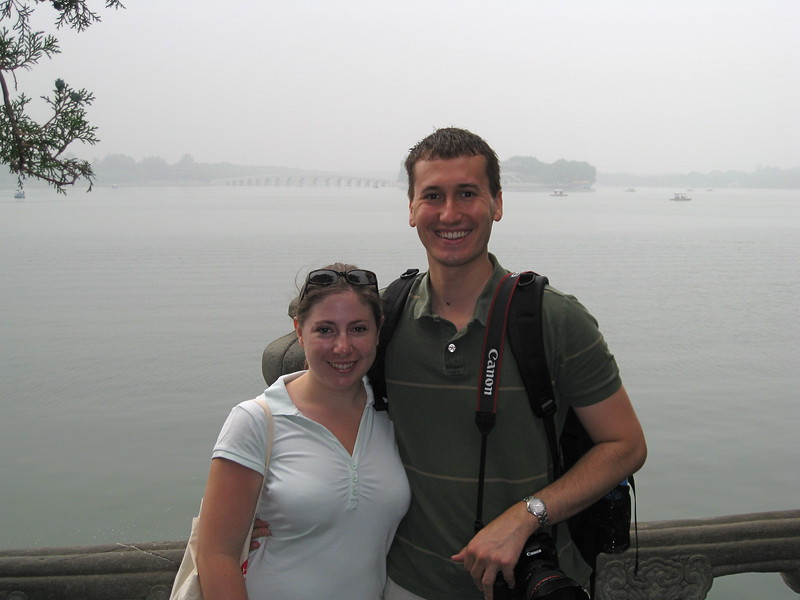 A very hazy, smoggy day (like all of the days) on the lake at the Summer Palace