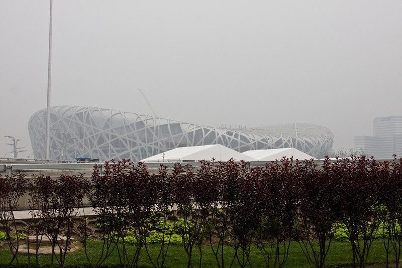 "Our drive-by of the ""Bird's Nest,"" the main Olympic stadium"