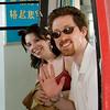 Paul and Sarah riding the cable car up Laoshan