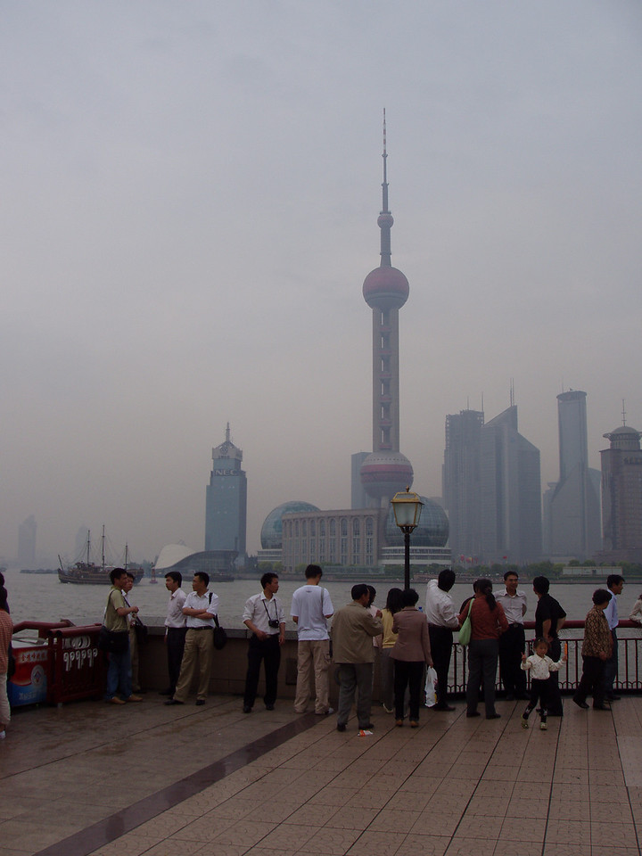 Standing on the Bund in Shanghai looking across at the TV tower.