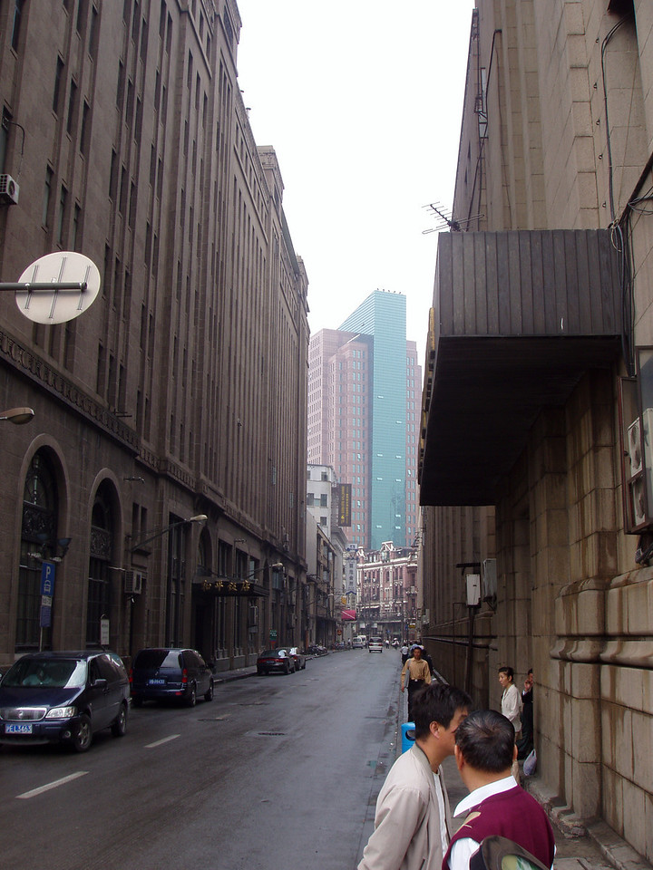 A street just looking away from the Bund.  I thought the building in the distance looked cool highlighted in the sun