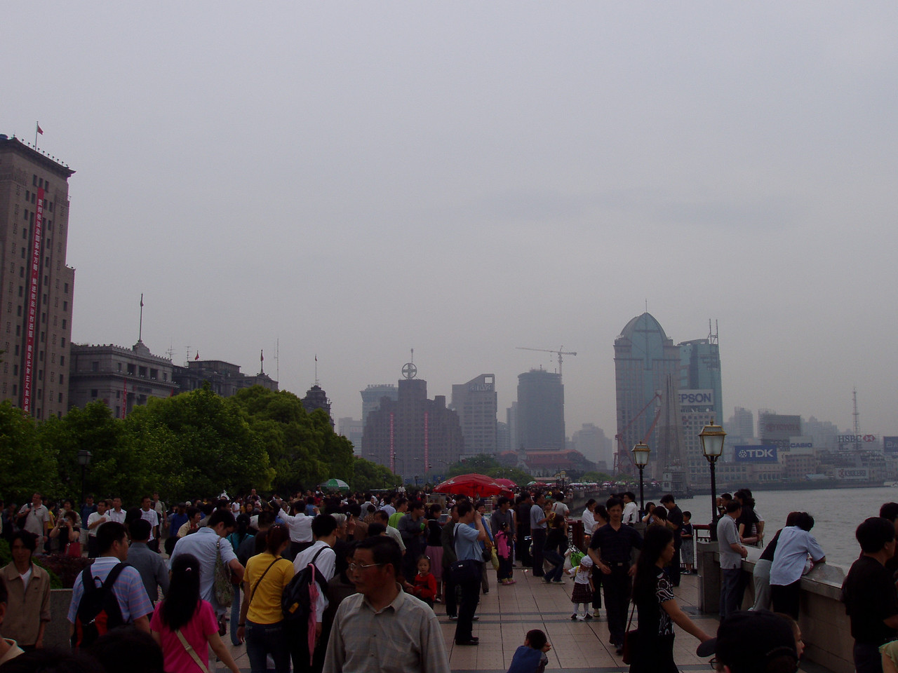Looking down the Bund at the crowds.