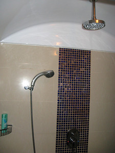 The double shower heads.  The upper one is like standing under a waterfall.
