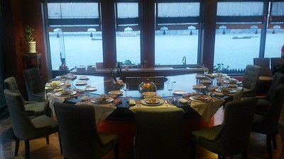 Hibachi table overlooking the Qiantang River
