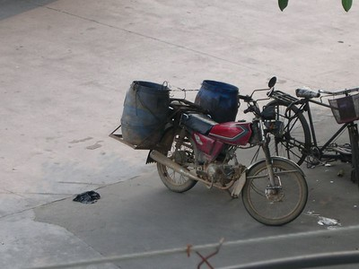 Bongo player or heavy drinker.....you decide.  There's not much you would have to leave behind with panniers like these!