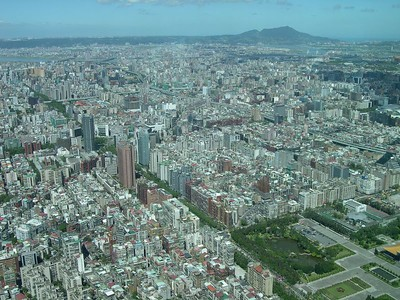 The view from the 88th floor of Taipei 101.  No other building in Taipei is even close in size.