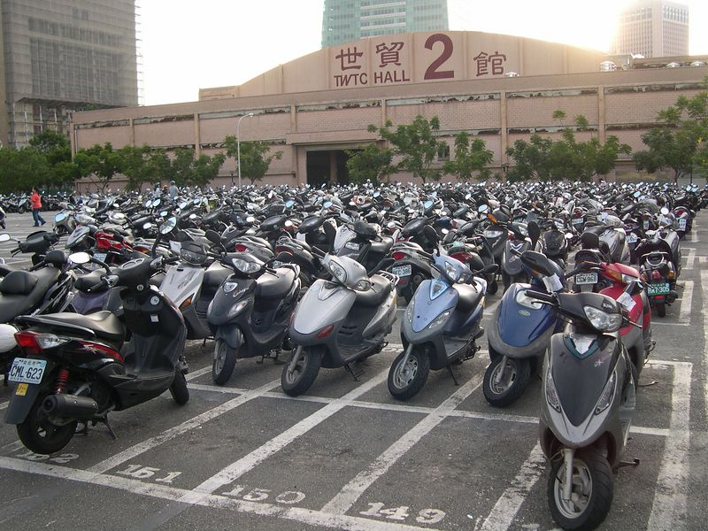 The world's largest scooter-only parking lot.  Last Monday, it was completely full!