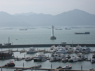 Mountains of the Hong Kong SAR just across the bay from SheKou