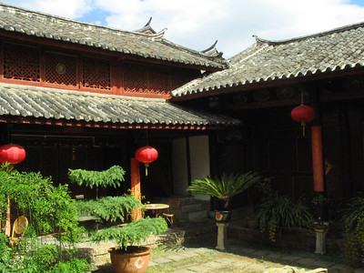 The courtyard of my guest house in Li Jiang.