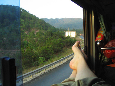 My first overnight bus ride footshot.  I'm on the top bunk.