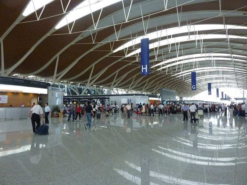 Arriving at the Shanghai Pudong Airport.