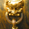 close-up of gold plated urn