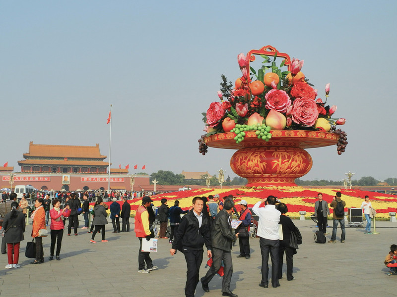 Tianmen Square. Large flower decoration from 2012 Olympics