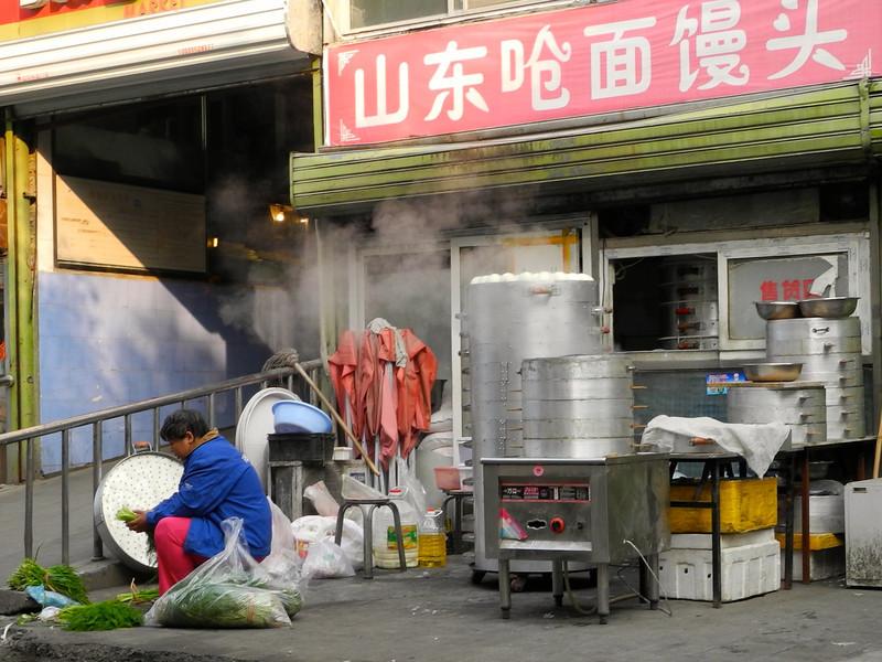 On the street dumpling manufacturing.