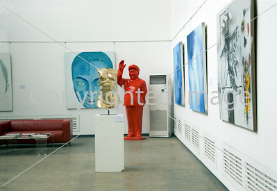 Beijing, CHINA-  Contemporary Art Gallery Interior in Art District 798 in Chaoyang Disrtict, Linda Gallery, with Sculptures of Mao by Wu Shaoxiang Directphoto