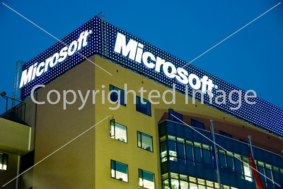 Beijing, China - Microsoft Corporation Office Building, Close up Lit up Sign at Night Directphoto