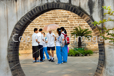 Beijing, CHINA- Mixed Group of Chinese Teenqgers Visiting in Garden at Ancient Observatory Monument,   http://www.worldofstock.com/closeups/TAP1092.php Directphoto