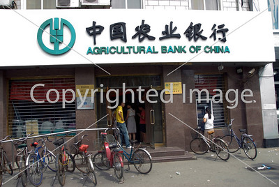 Beijing, CHINA- Business, Outside a Branch of the Agricultural Bank of China Directphoto