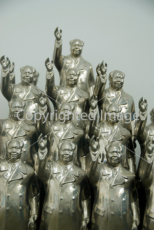Beijing, CHINA-  Chinese Contemporary Art on Display in Art District 798 in Chaoyang Disrtict, Chaiman Mao Statues by Wu Shaoxiang at the Linda Gallery Directphoto