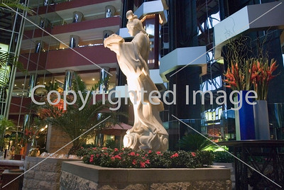 Beijing, CHINA- Tourist Hotels, Interior Lobby Lounge of Sheraton-Beijing Hotel, Inside Atrium with Monumental Oriental Statue Directphoto