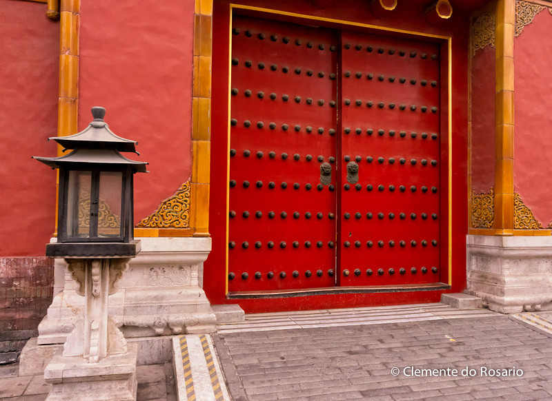 Ornate red door of the one buildings in Forbidden City