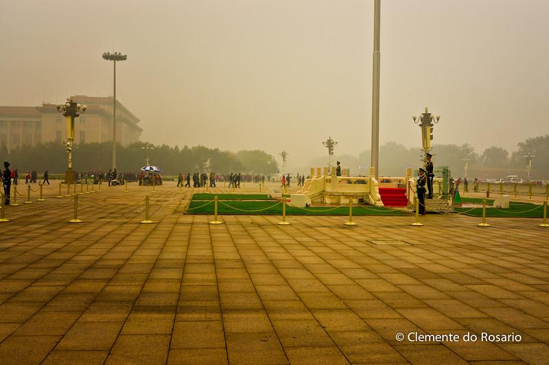 Tian'anmen Square( Tian'anmen Guangchang) covered in fog.