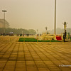 Tian'anmen Square( Tian'anmen Guangchang) covered in fog.