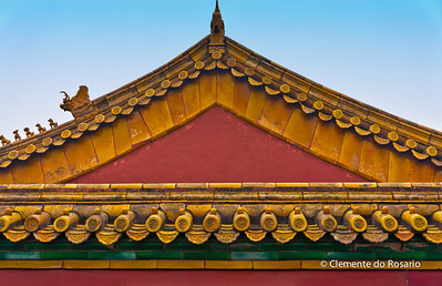 A closeup of a roofline of a building in Forbidden City, Beijing