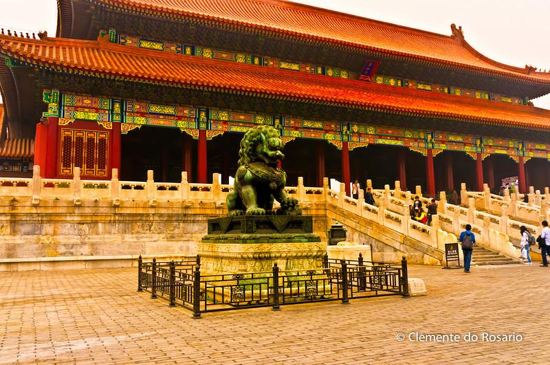 Bronze Lion sculpture guard the Gate of Supreme Harmony in the Forbidden City complex