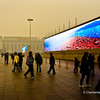 Giant plasma screens in  Tian'anmen Square - which display the natural wonders of China.