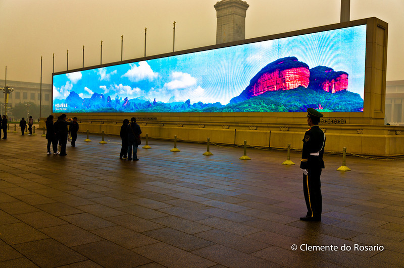 Giant plasma screen in  Tian'anmen Square - which display the natural wonders of China.