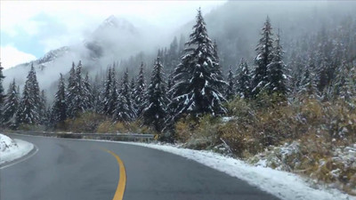 A two minute video showing segments of our drive through beautiful pine forested mountains with a dusting of overnight snow